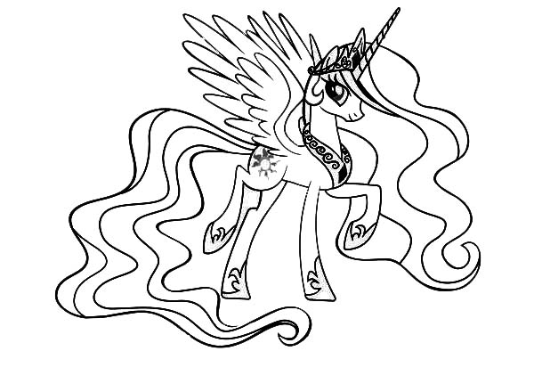 Wonderful 600x440 My Little Pony Princess Celestia Coloring