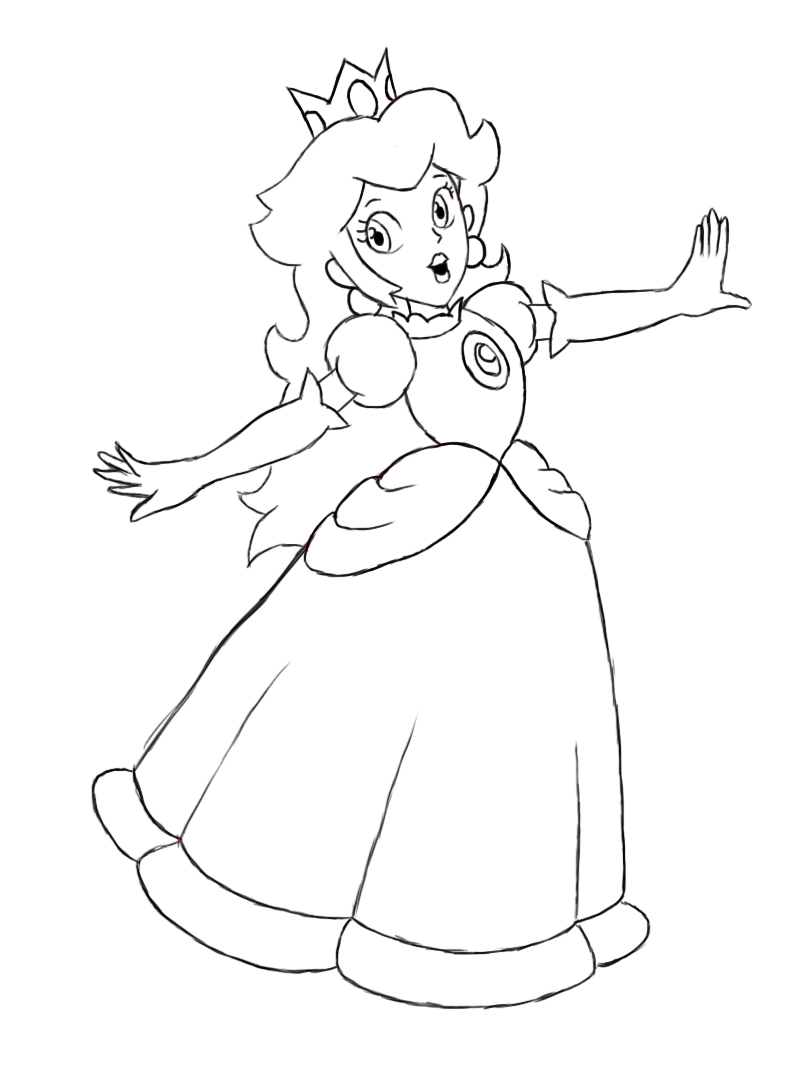 799x1076 How To Draw Princess Peach Princess Peach, Drawings And Paper