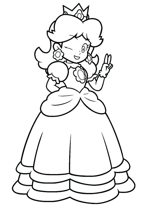595x842 Princess Daisy Coloring Pages Peach Free