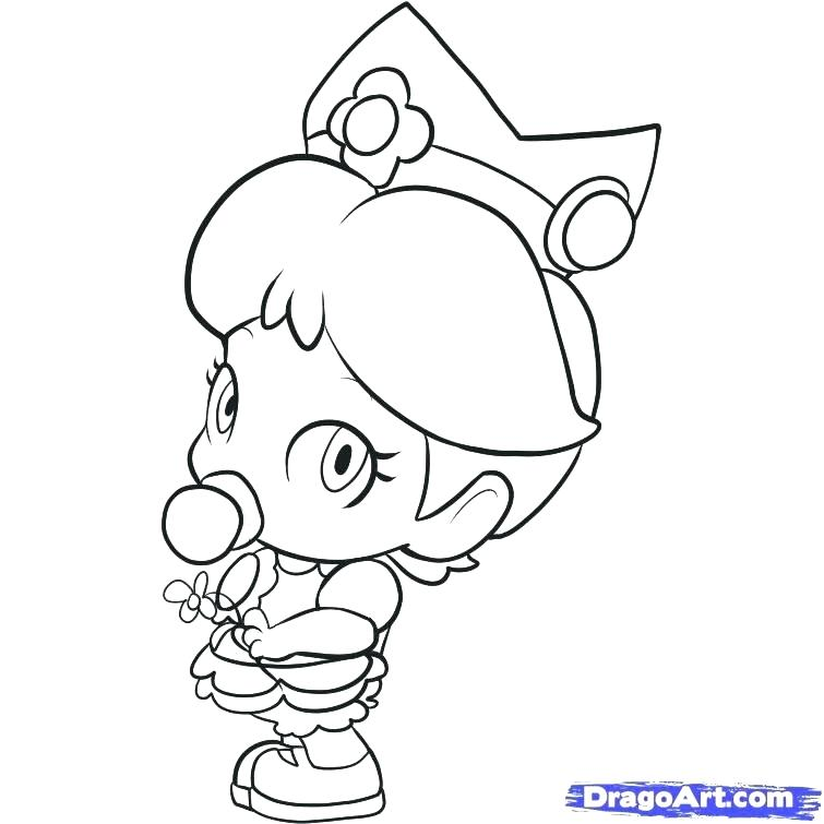755x755 Princess Daisy Coloring Pages Printable Peach