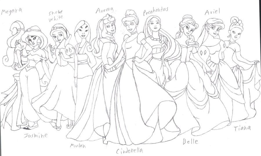 900x537 Disney Princesses Group Sketch By Djfirehawk