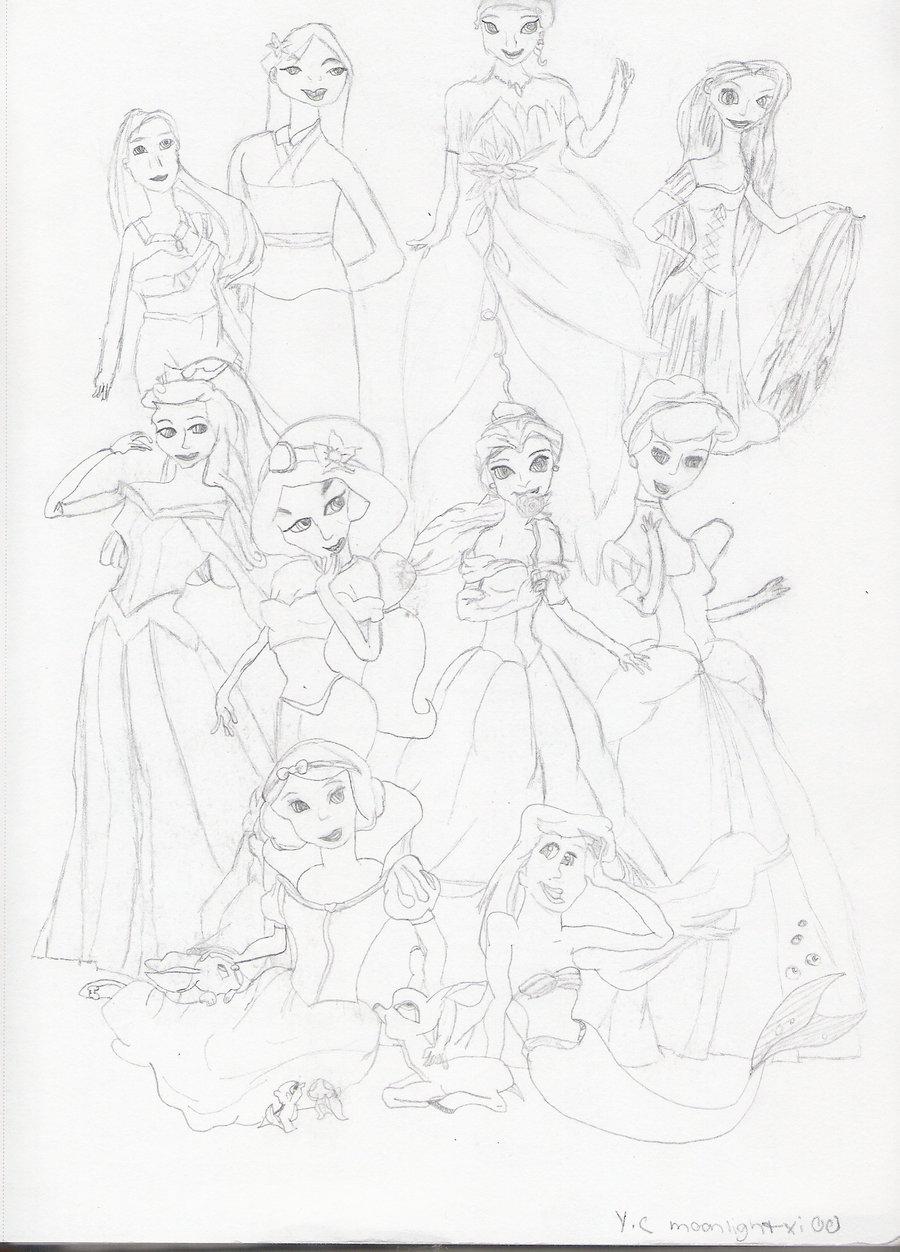 900x1252 Disney Princesses Drawing By Moonlightxi00