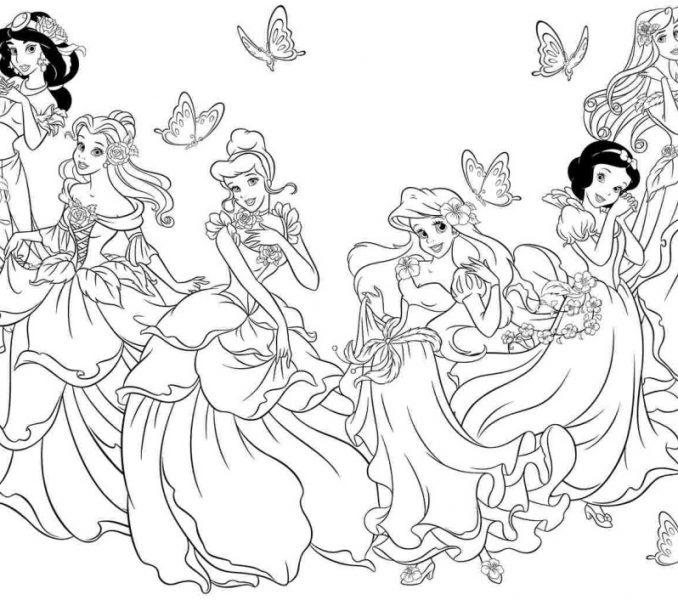 678x600 Color Disney Princess Disney Princess Coloring In Pages Wonderful