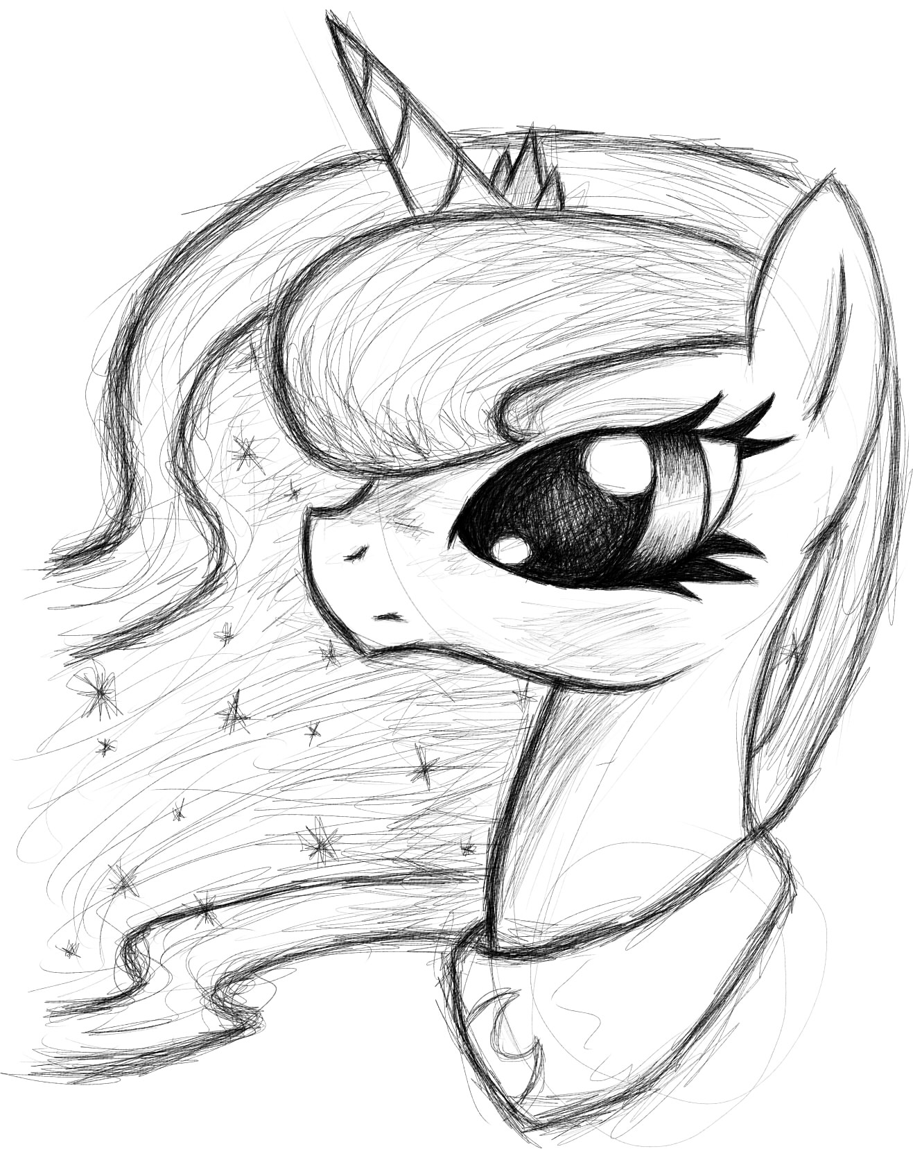1317x1657 Princess Luna Sketch By Misskotka