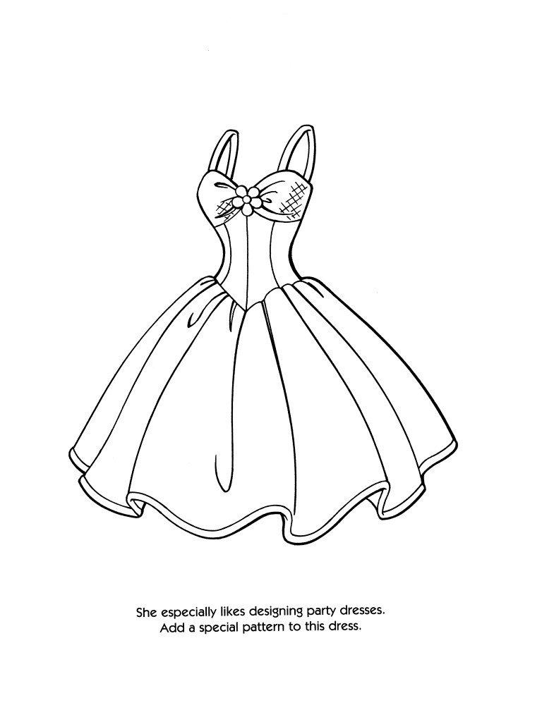 768x1024 Cartoons Dress Coloring Pages Princess Dress Barbie Fashion