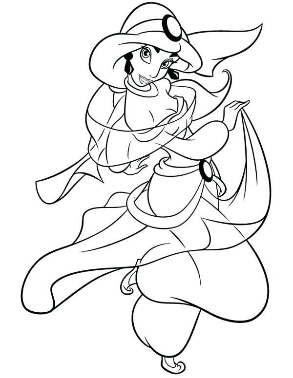 600x776 Jasmine Coloring Pages How To Draw Princess Jasmine Coloring Page