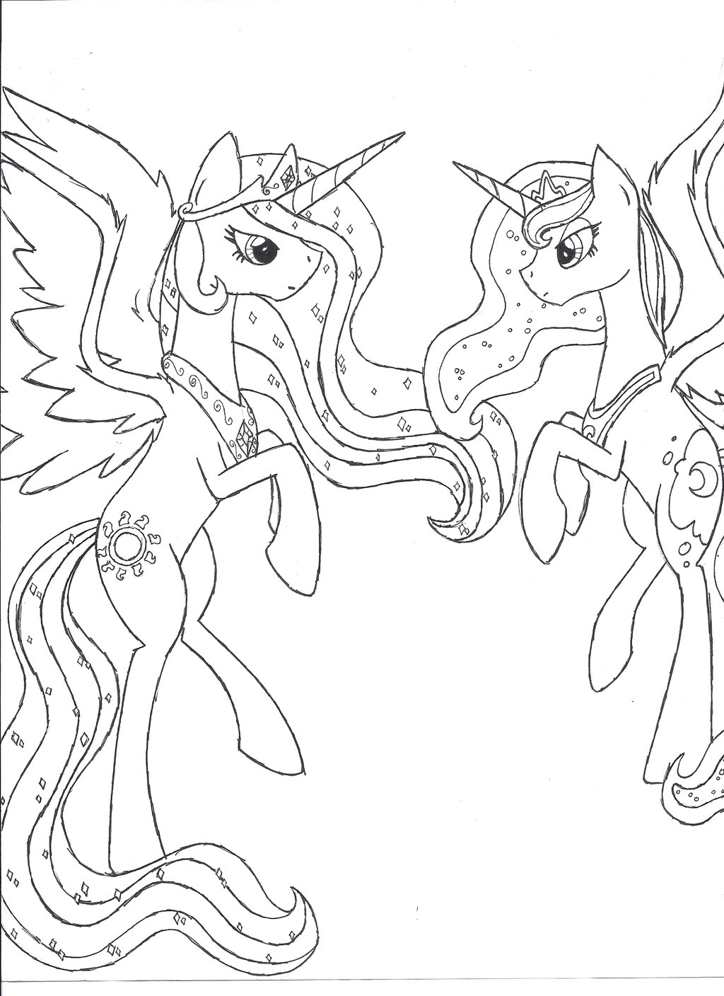 1024x1408 Princess Celestia And Princess Luna Unfinished By Iwatobi No
