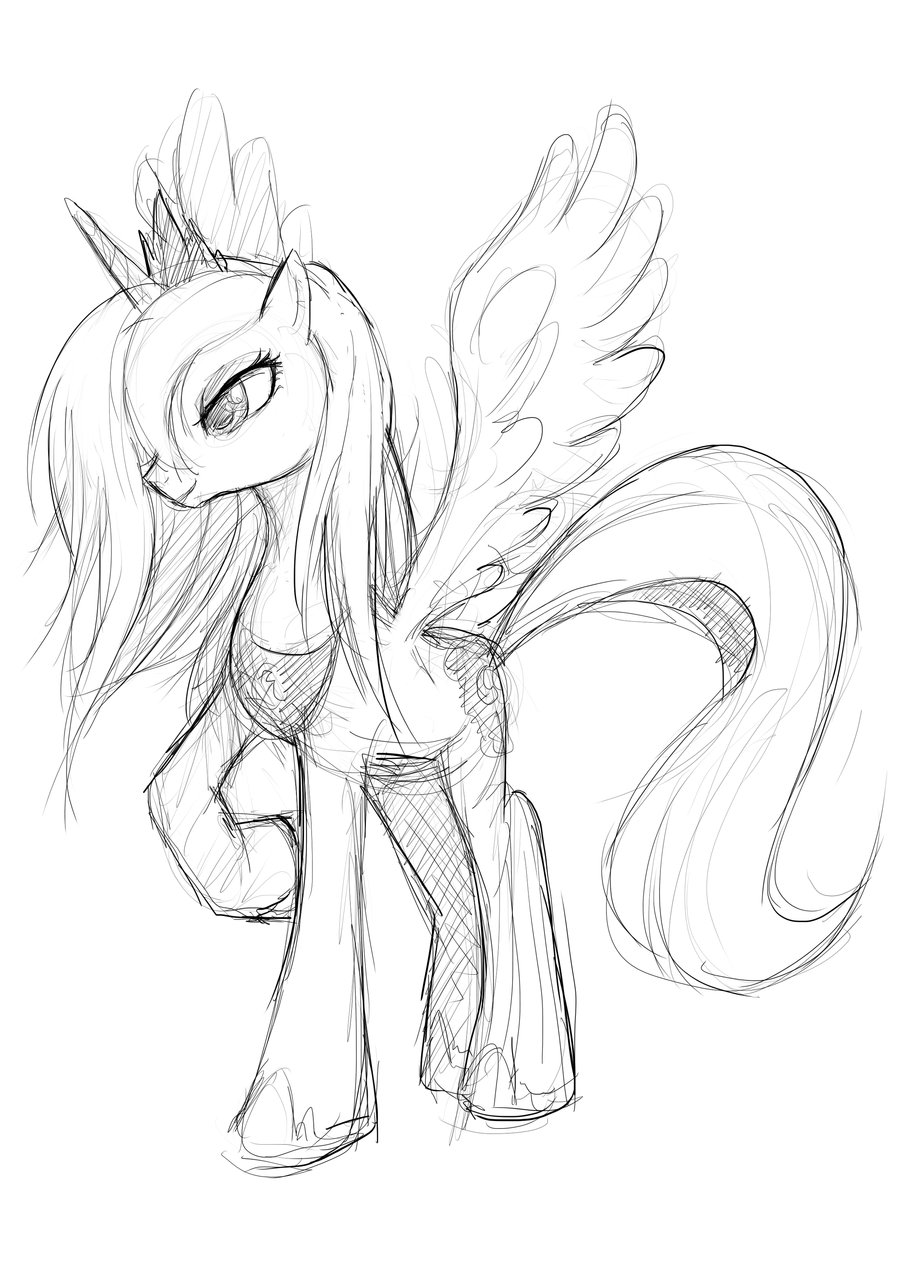 900x1273 Princess Luna Sketch By Moxie2d