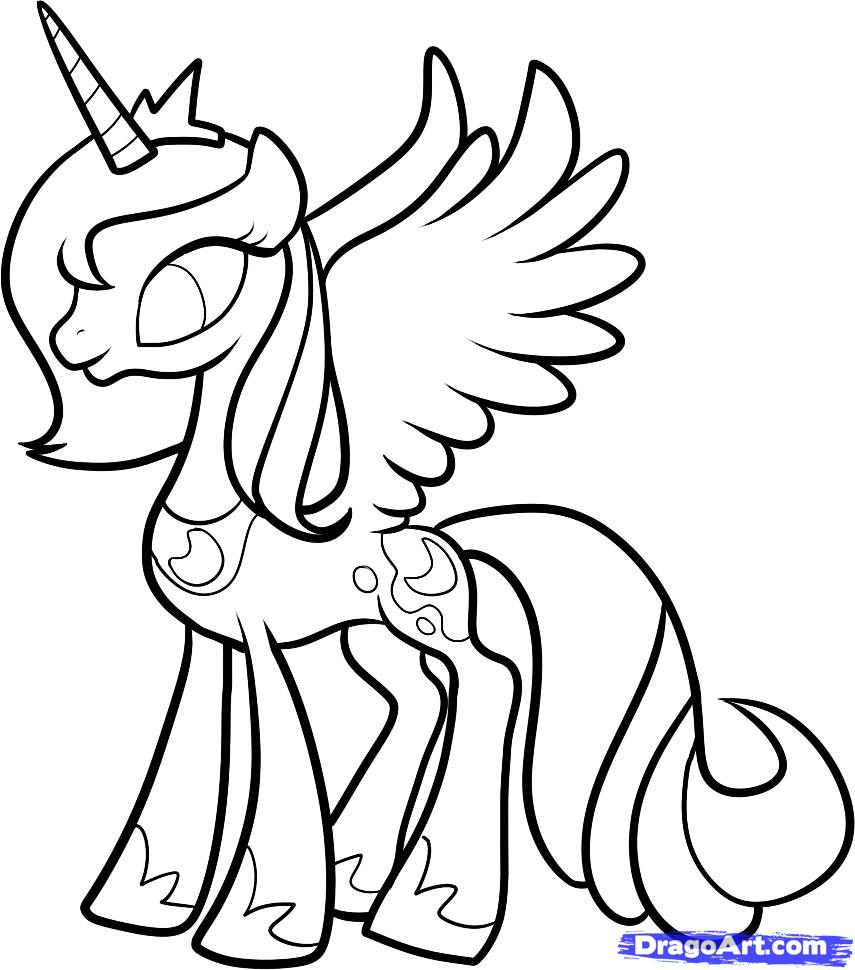 855x970 Mlp Printable Coloring Pages How To Draw Luna, Princess Luna, My