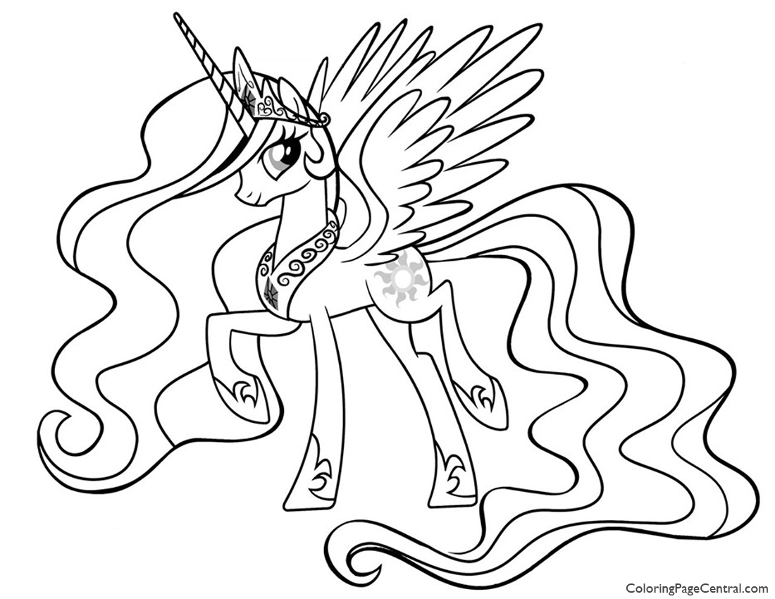 1100x850 Latest Alicorn Coloring Pages My Little Pony Princess Celestia 01