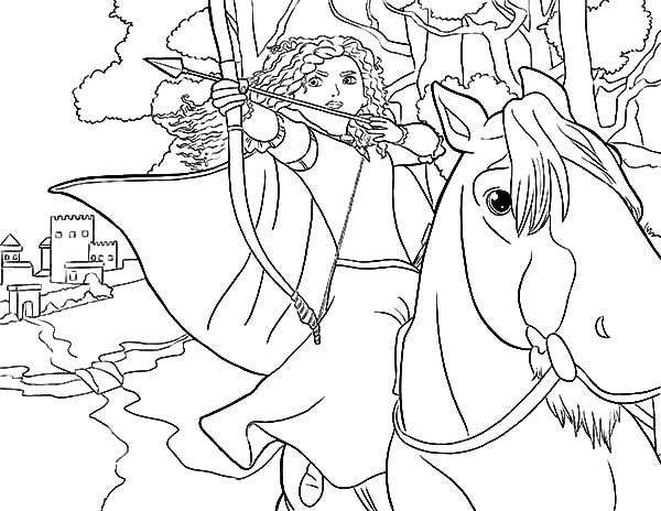 600x464 Princess Merida Aiming Target While Riding Horse Coloring Pages
