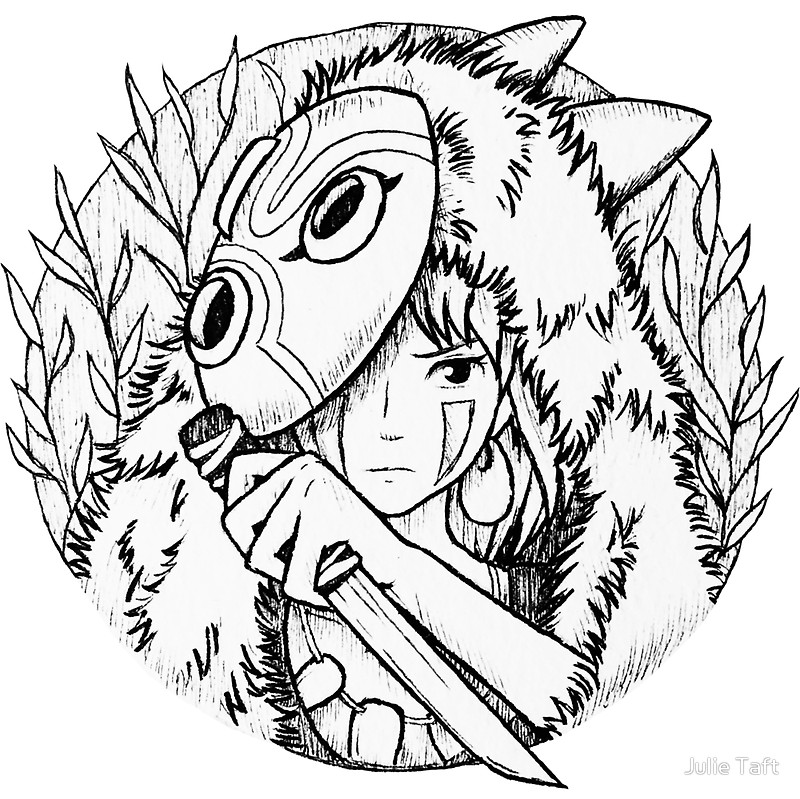 800x799 Princess Mononoke San Drawing Stickers By Julie Taft Redbubble