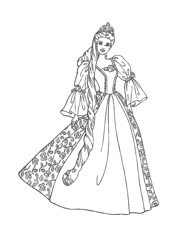 Princess Outline Drawing
