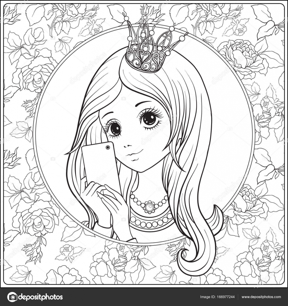 963x1024 Young Nice Girl With Long Hear And Princess Crown On Her Head Ma