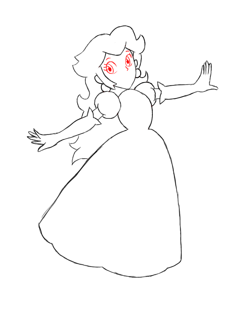 799x1076 How To Draw Princess Peach Princess Peach, Paper Drawing