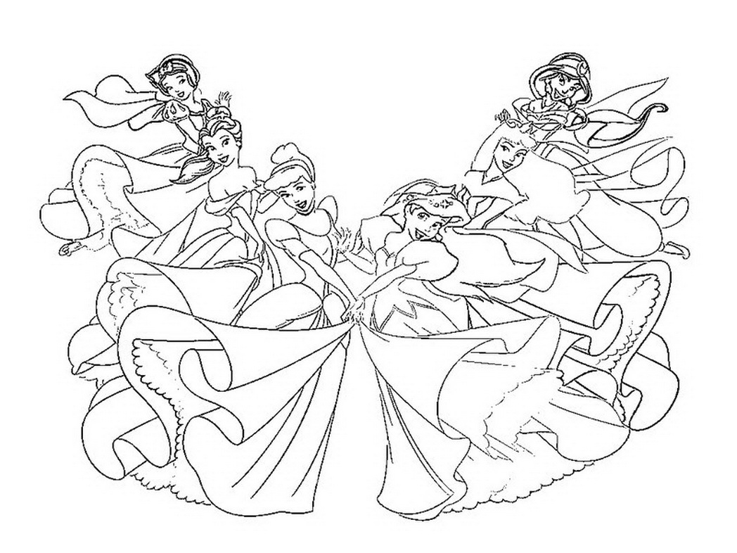 1048x786 Good All Disney Princesses Coloring Pages For Line Drawings On