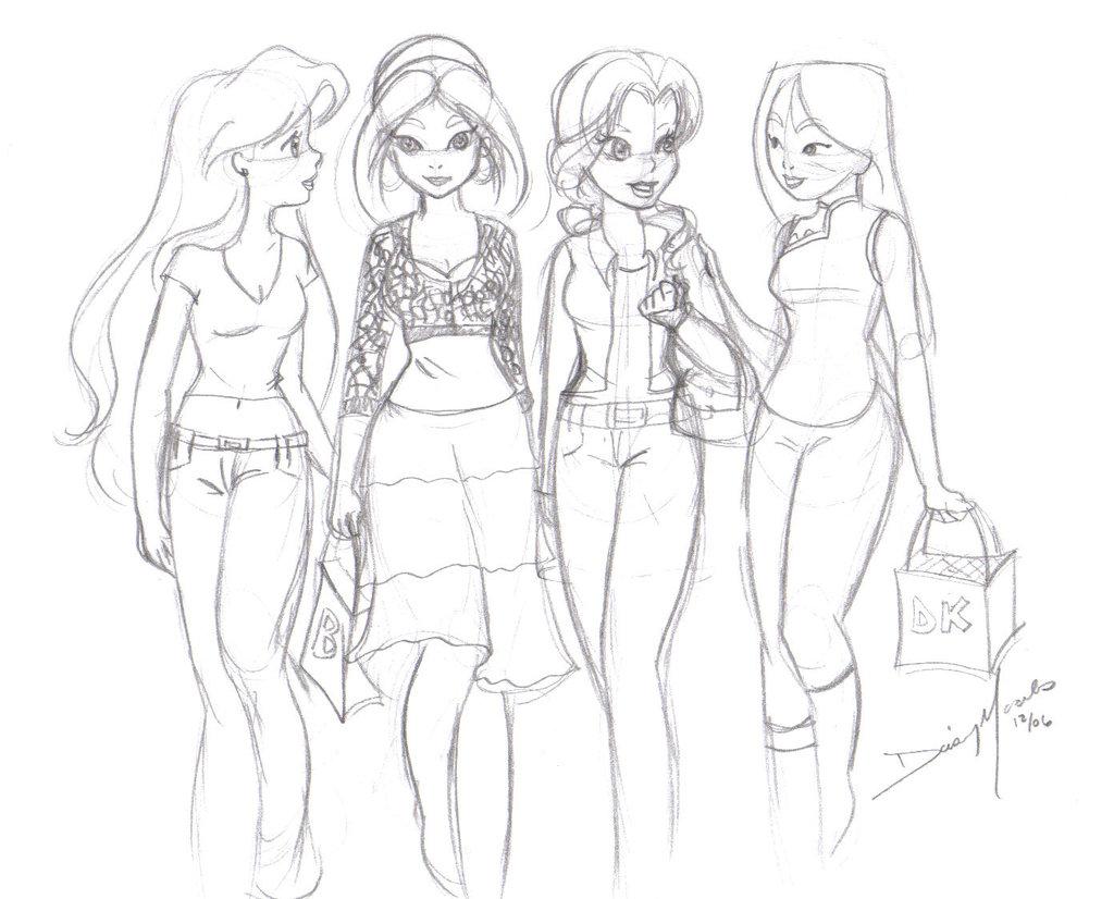 1024x826 Modern Disney Princesses By Wolfypuppy