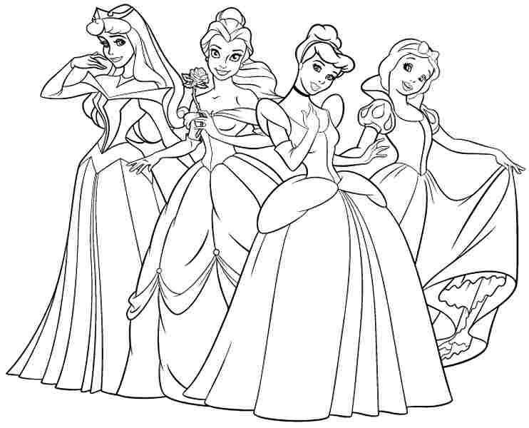 742x600 Coloring Pages For Girls Cute Princess In Fancy Draw Printable