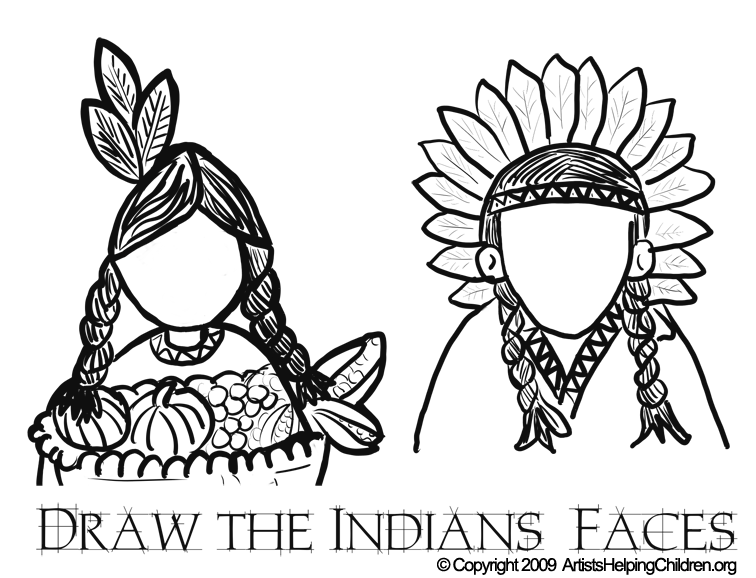 756x578 Thanksgiving Indians Coloring Pages Printouts Amp Draw Indians Faces