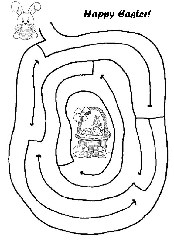 573x792 Easter Maze! Help The Bunny Get To The Basket By Drawing In His