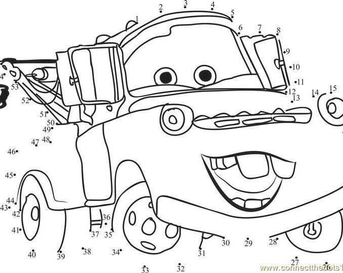 678x539 Disney Printable Worksheets Funny Cars Disney Dot To Dot Printable