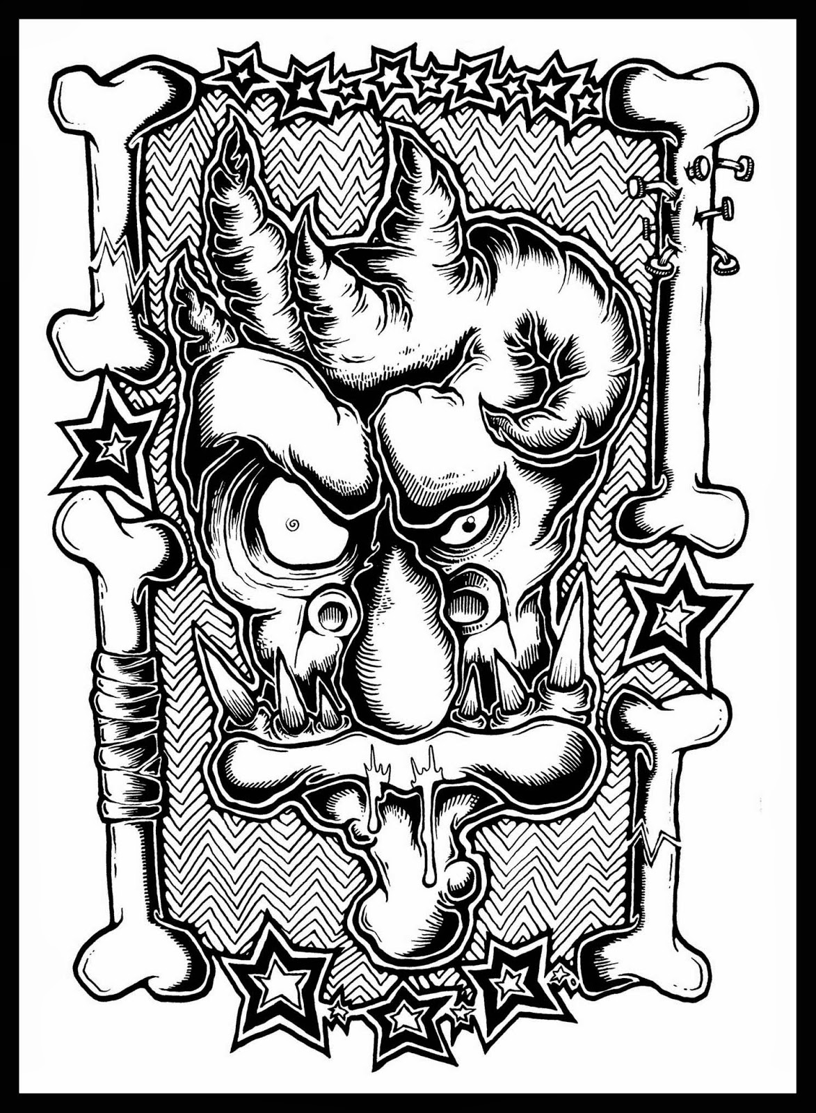 1173x1600 New Drawing Zombie Ghoul Face No. 2 Daryl Hobson Artwork