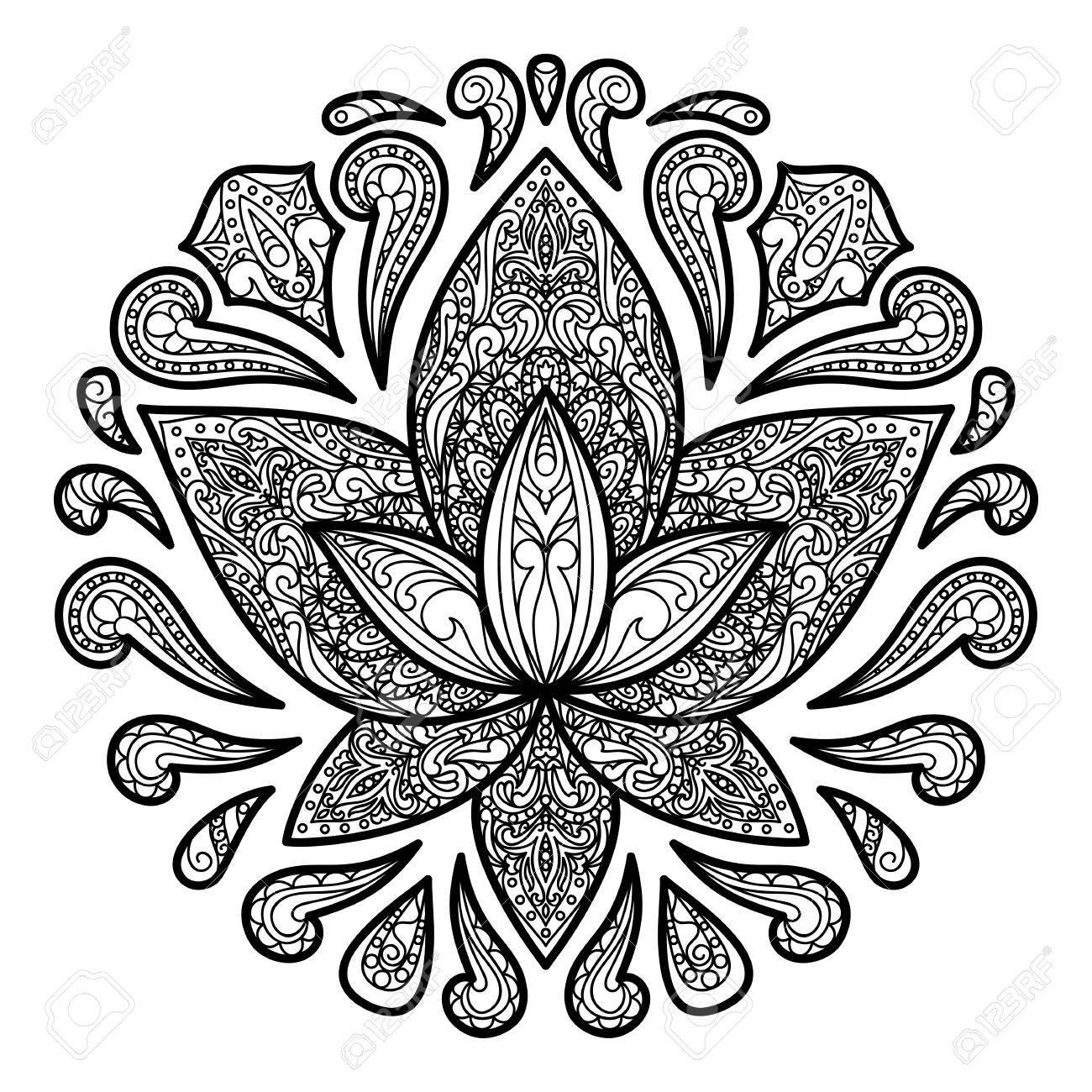 1300x1300 Ornamental Lotus Tattoo. Floral Symbol For Amulets, Textile Prints