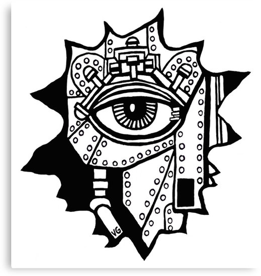 519x550 Surreal Cyborg Black And White Pen Ink Drawing Canvas Prints By