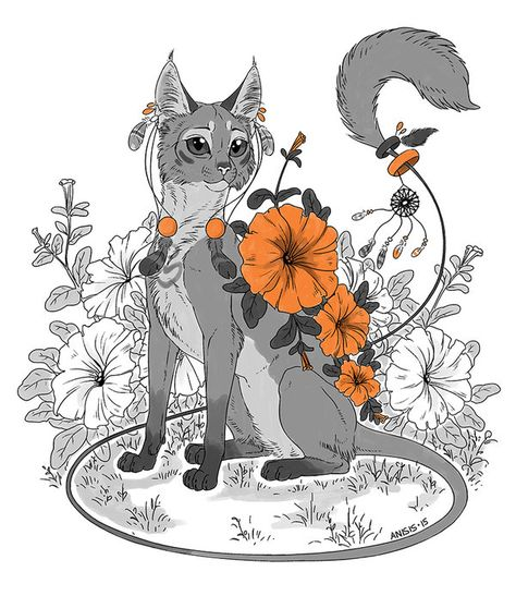 474x547 Flower Cat By Anisis Illustration Inktober, Copic