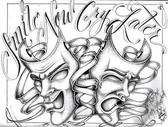538x409 Drama Mask Drawings Dark Side Gtgtgtgt Light Side