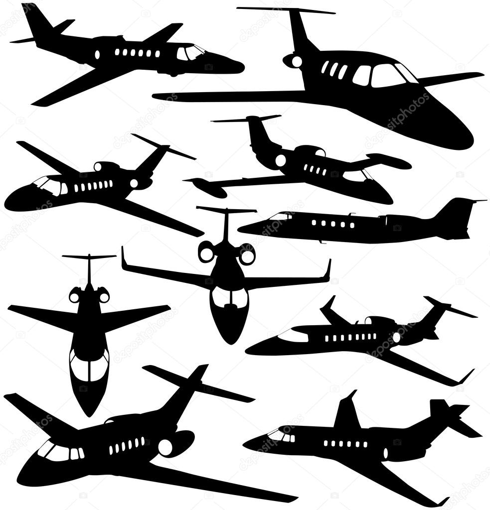 983x1024 Silhouettes Of Private Jet