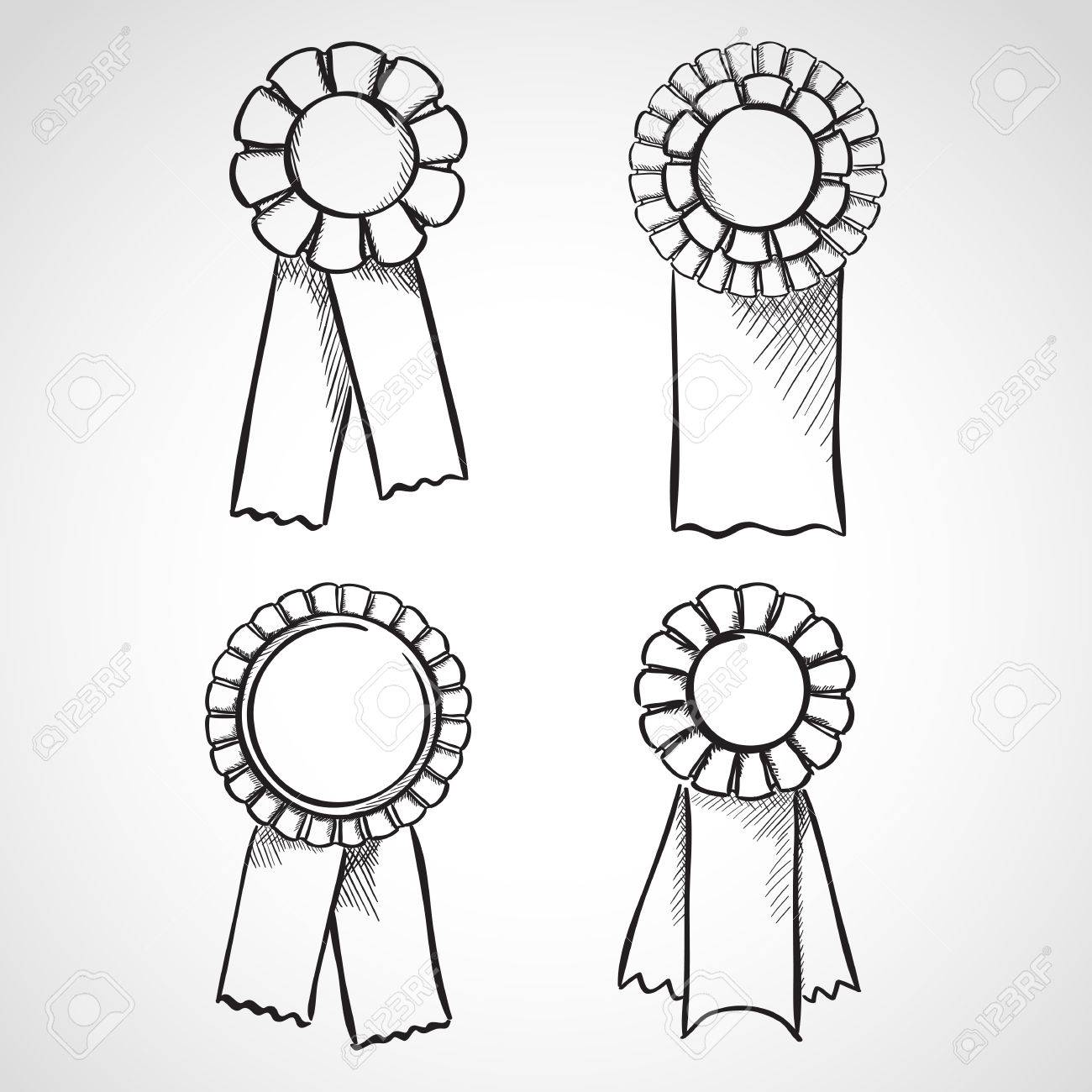 1300x1300 Set Of Sketch Prize Ribbons. Hand Drawn Illustration Royalty Free