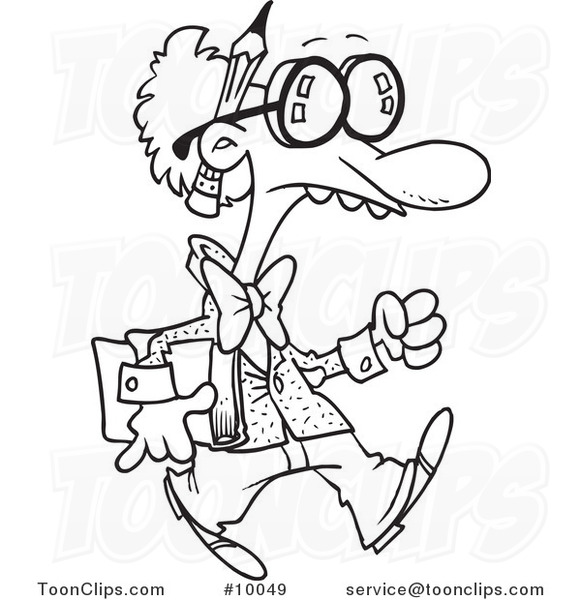 581x600 Cartoon Black And White Line Drawing Of A Goofy Professor