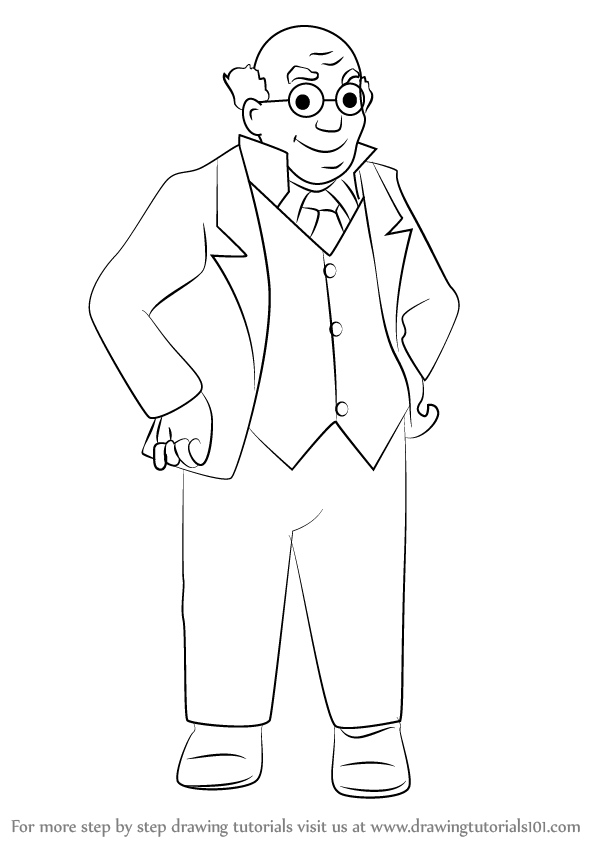 598x844 Learn How To Draw Professor From Rupert (Rupert) Step By Step