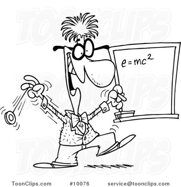 581x600 Cartoon Blacknd White Line Drawing Of Professor By