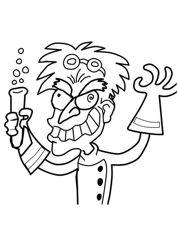 620x875 Coloring Page Crazy Professor