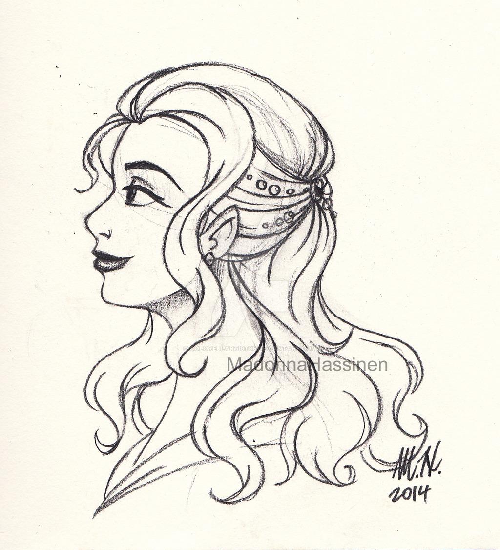 1024x1126 A Refine Lady Profile Sketch