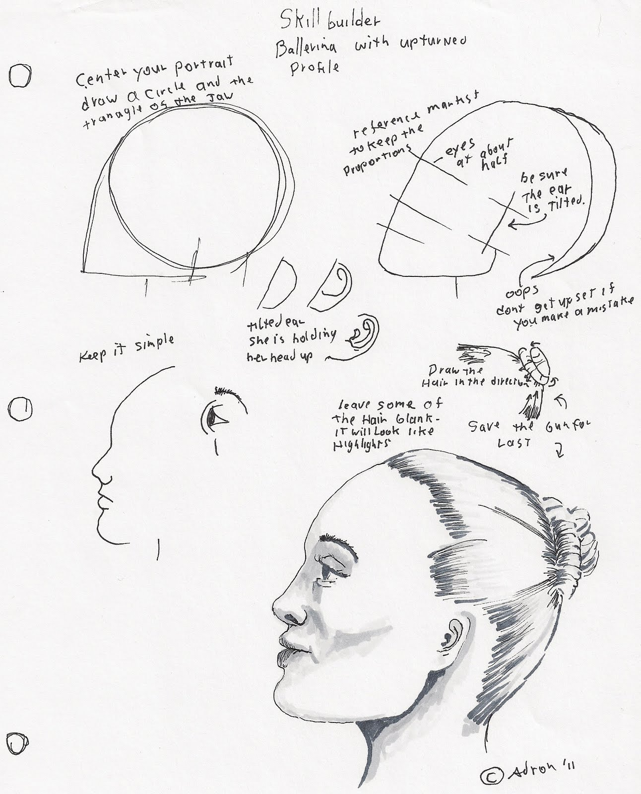 1292x1600 Adron's Art Lesson Plans How To Draw A Woman's Face Profile.