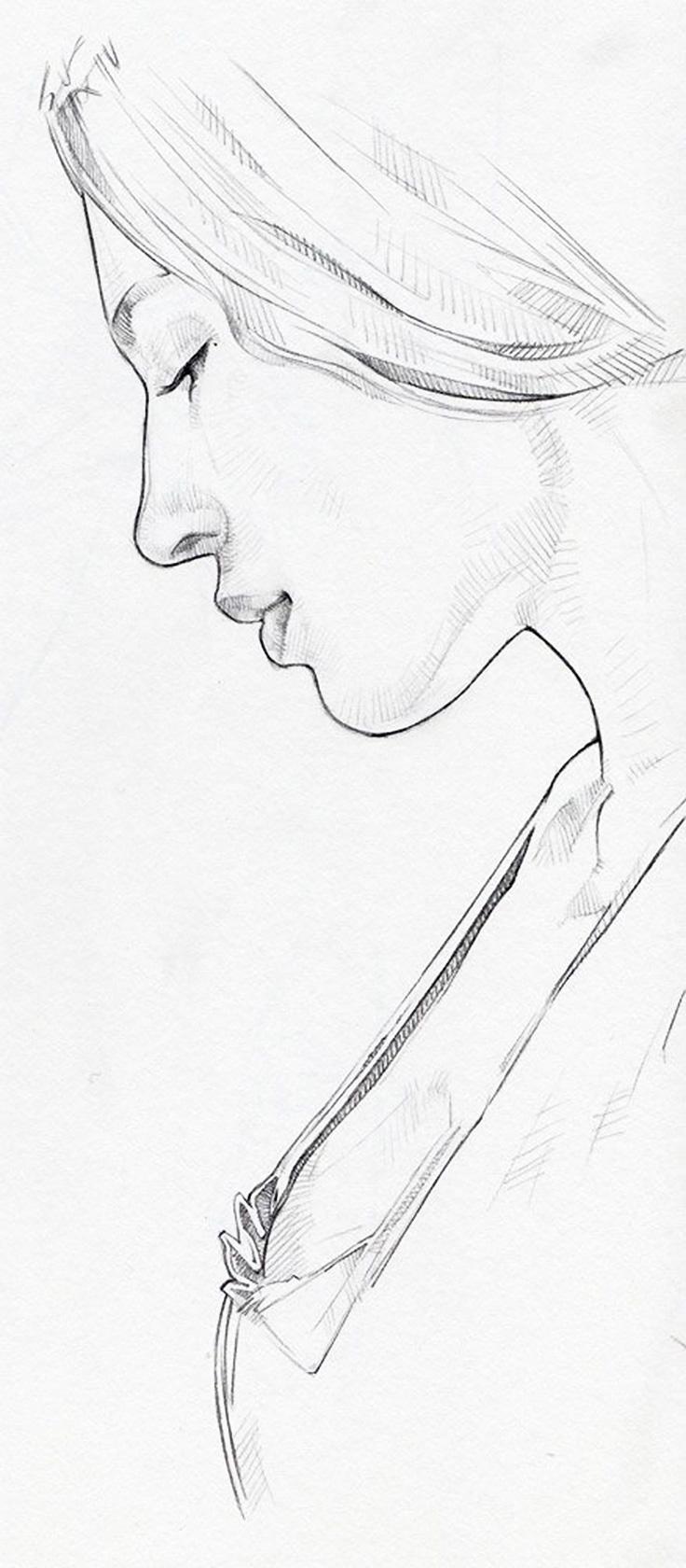 736x1680 Portrait Profile Drawing By David Malan It Figuresfemale