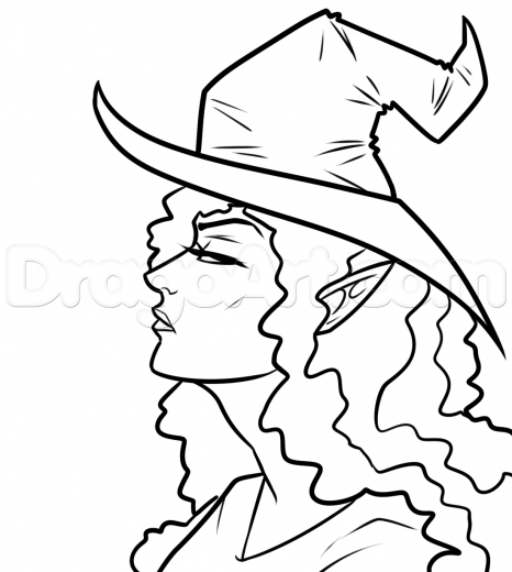 466x520 Drawn Witchcraft Profile Face