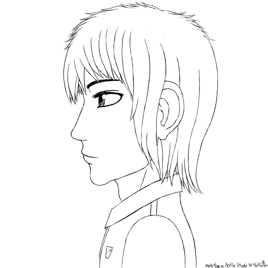 894x894 Manga Style Sketch Male Face In Profile By Kaikupen