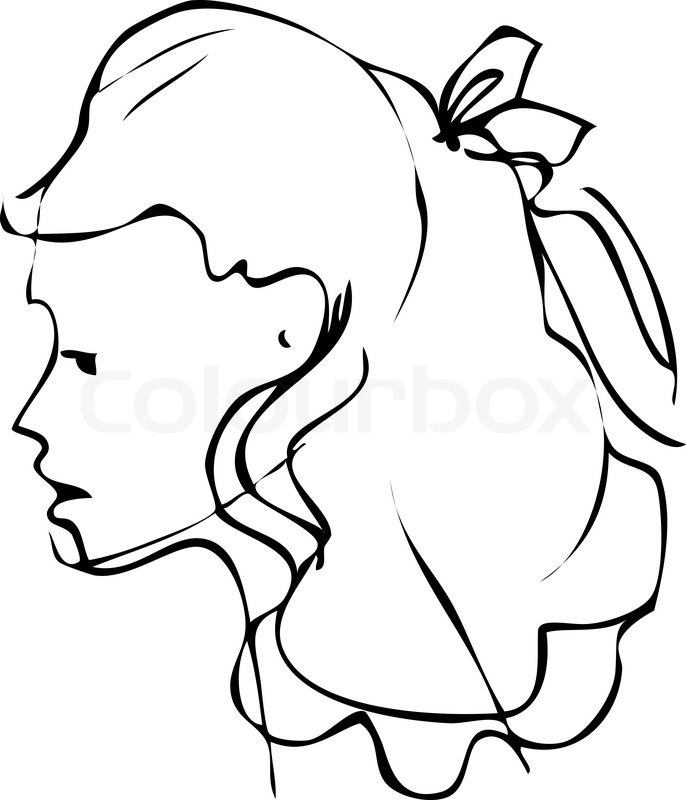 686x800 Sketch Is A Beautiful Profile Of Woman Face Stock Vector Colourbox