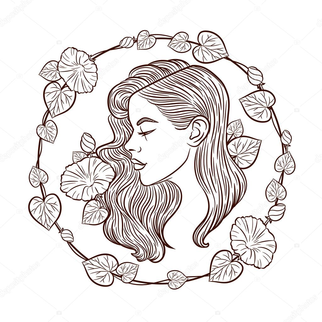 1024x1024 The Girl's Face Profile Vector Logo Girl. The Girl's Face