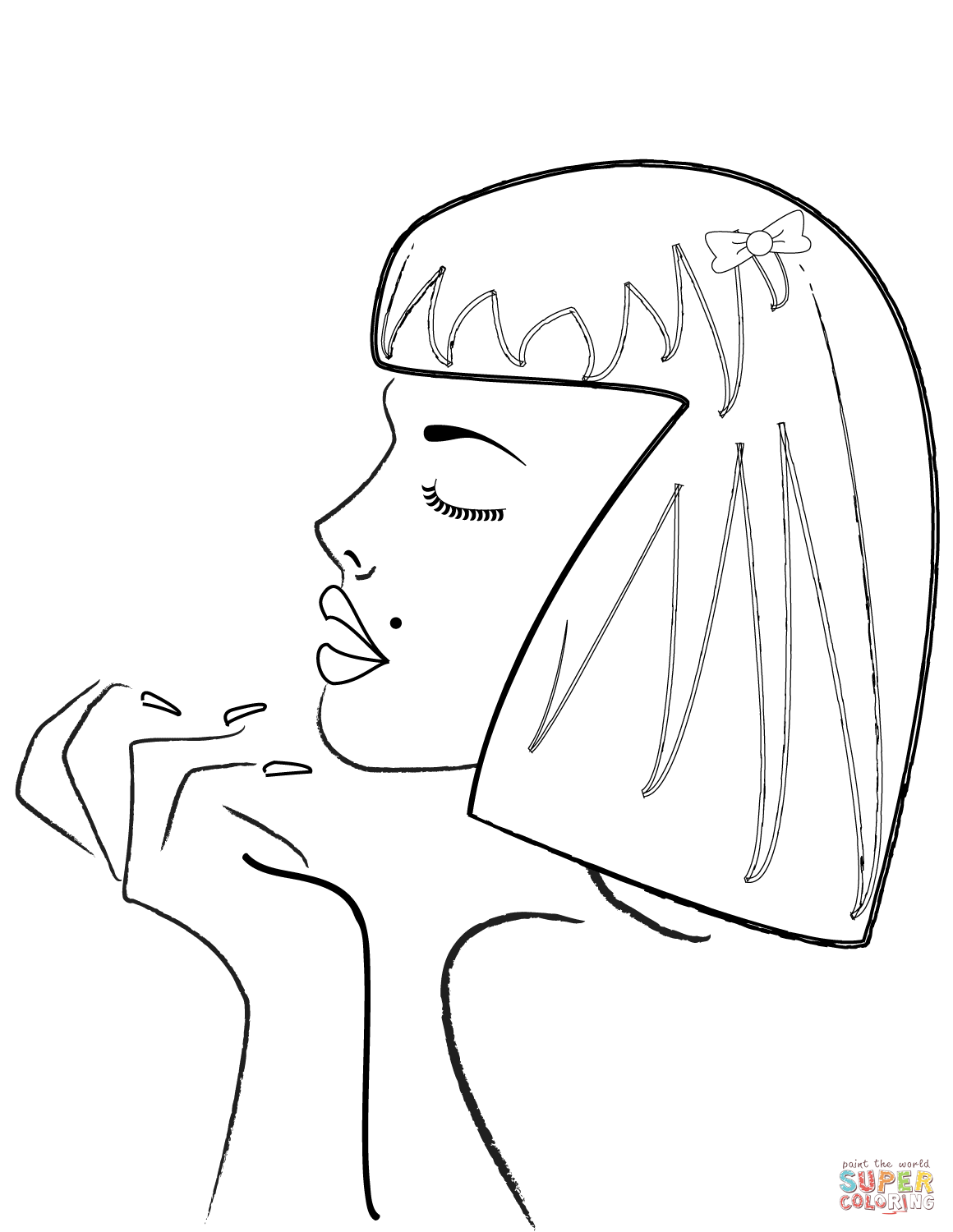 1160x1500 Woman's Side Profile Coloring Page Free Printable Coloring Pages