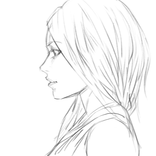 550x550 Girl Side View Sketch By Bunsyo On Art Stuff Lt3