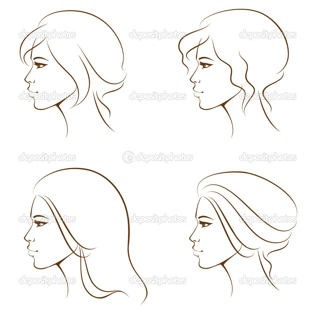 1024x1024 Simple Drawing Of A Woman Simple Profile Drawing