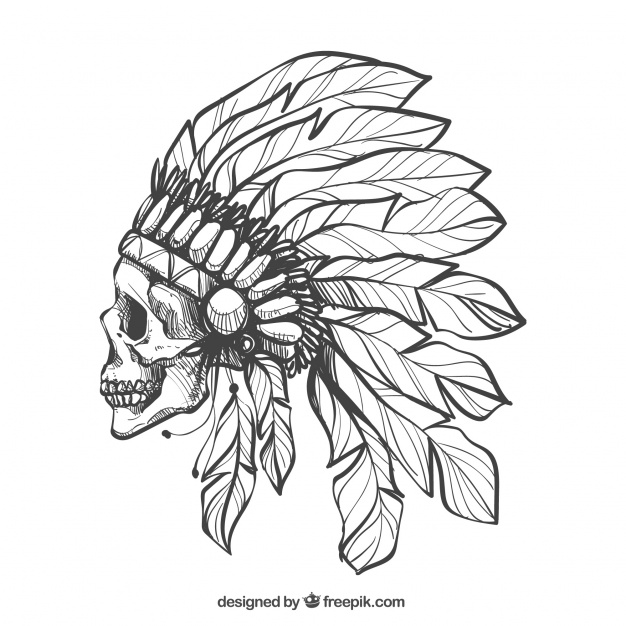 626x626 Skull In Profile With Feathers Hat Vector Free Download