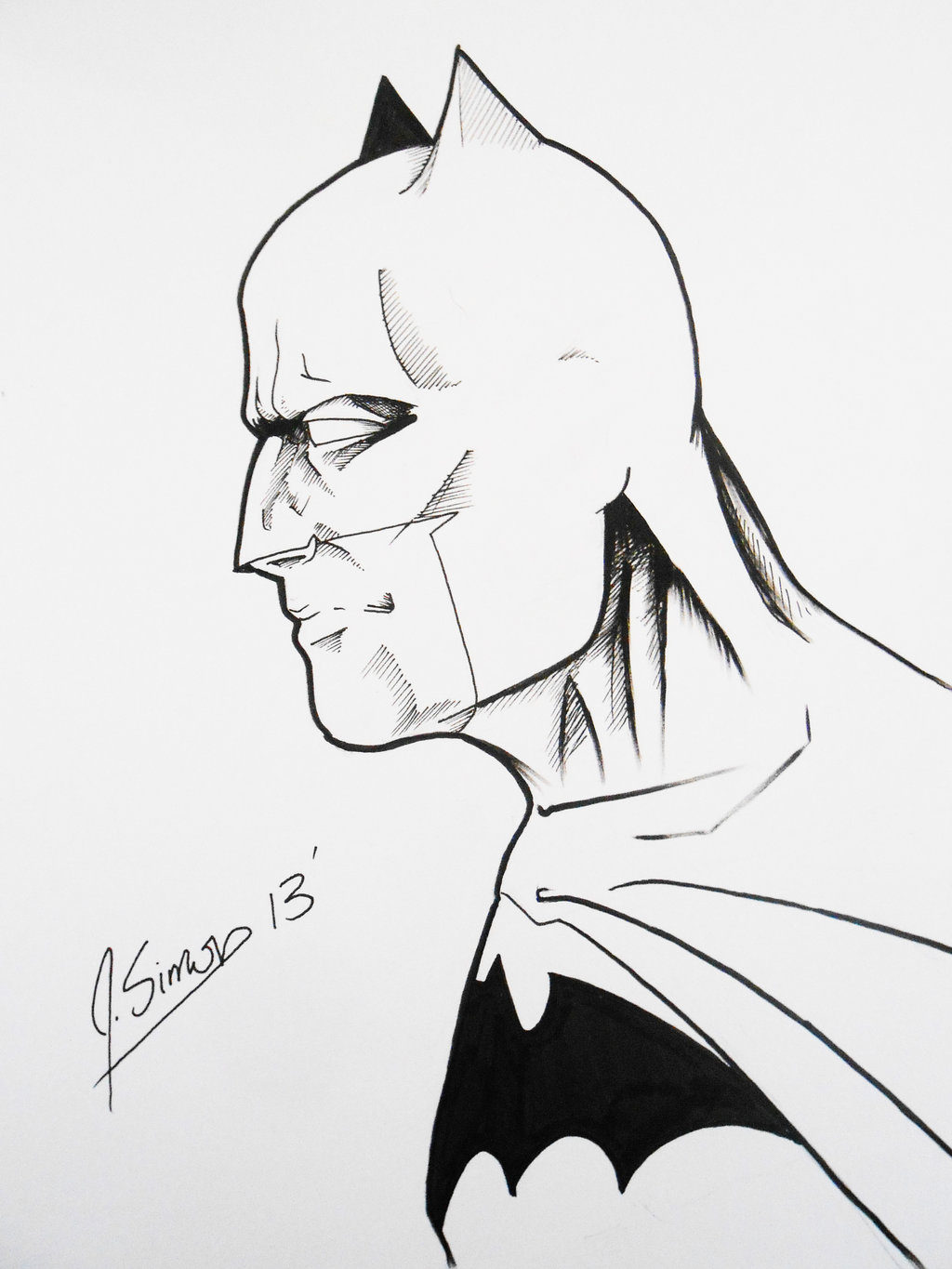 1024x1365 Batman Profile Sketch By Jsimonart