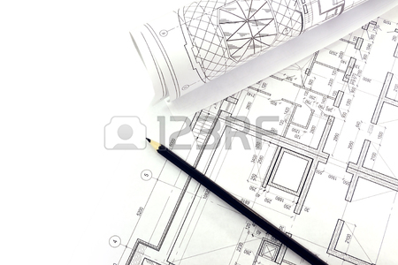 450x300 House Made Of Wooden Sticks And Project Drawings Stock Photo