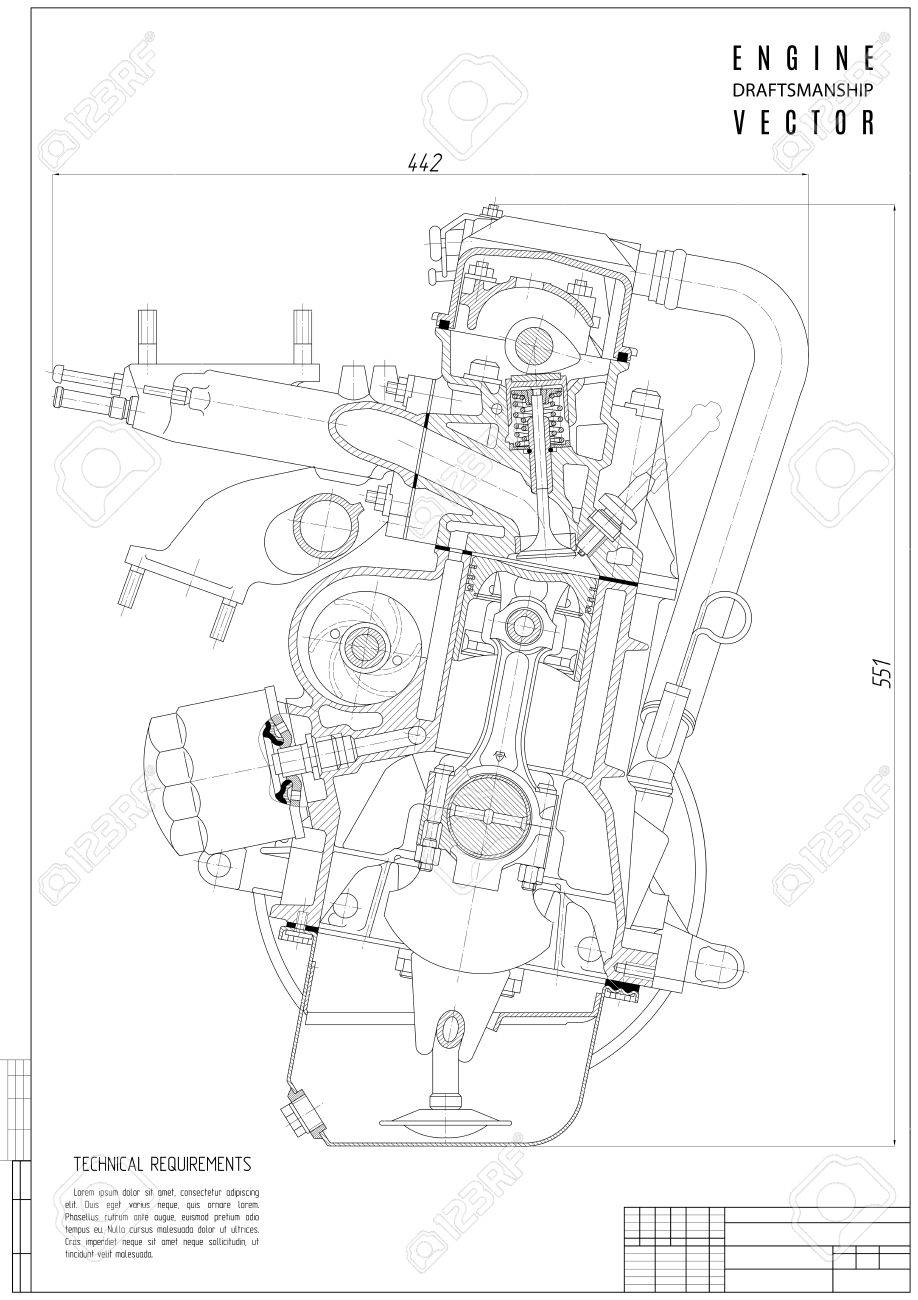 918x1300 Technical Drawing Engine, Construction Project Or Plan